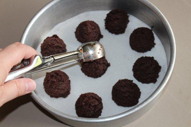 Putting Cake Pop Dough into Pan
