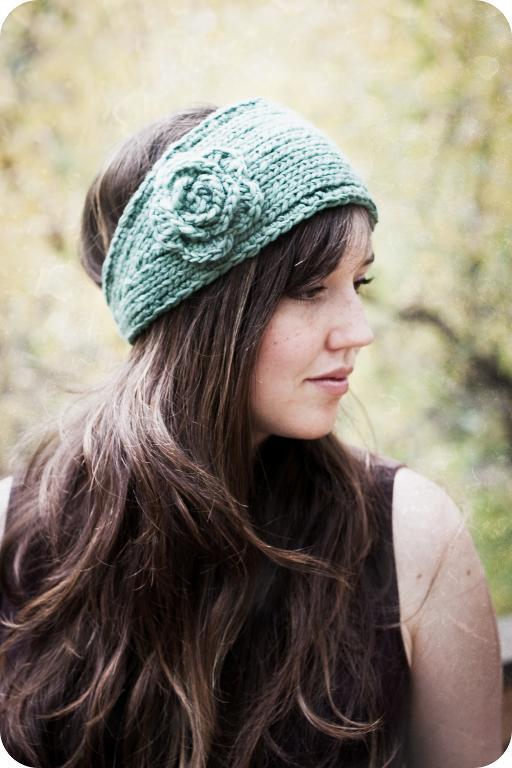 Woman Wearing Knit Flower Headband