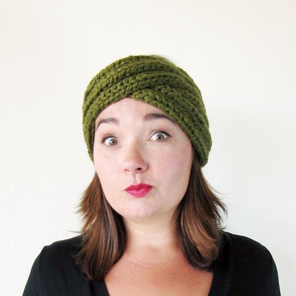 Woman Wearing Green Knitted Turban Headband