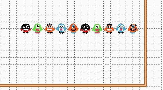 Little Computer Graphic Monsters Against Gridded Background