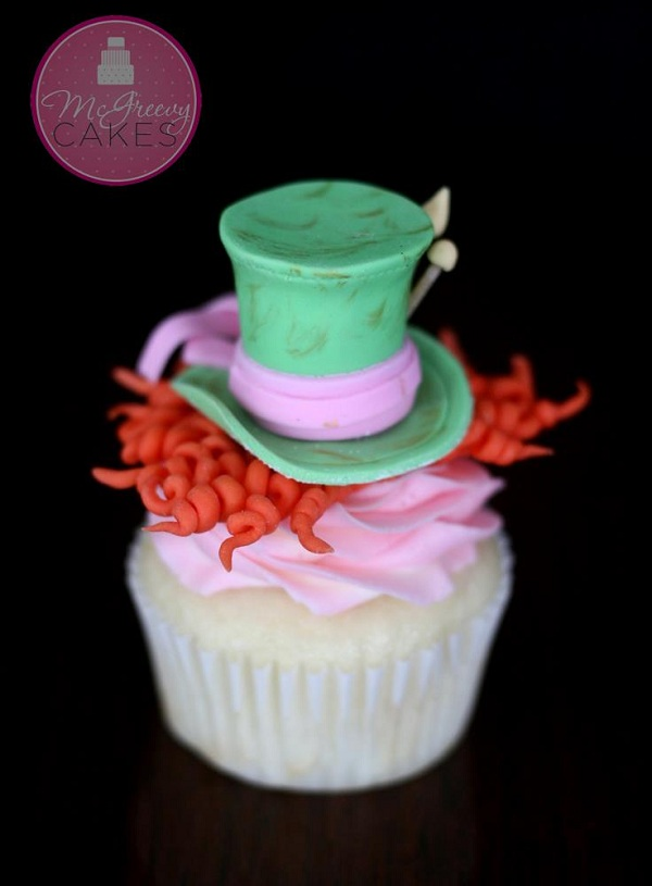 Mad Hatter Fondant Topper on Colorful Cupcake
