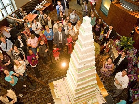 Record Tall Cake, Square, White and Very Large