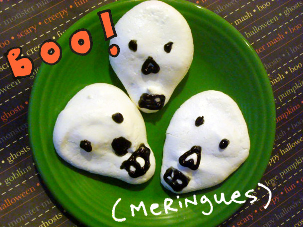 Skull-Shaped Meringues on Green Plate