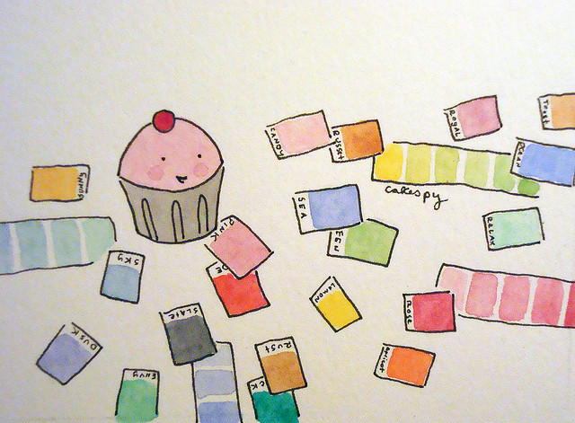 Cartoon of Cupcake Surrounded by Color Samples