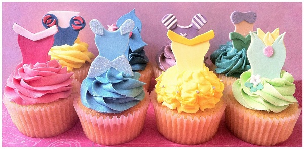 Cupcakes Topped with Fondant Princess Dresses