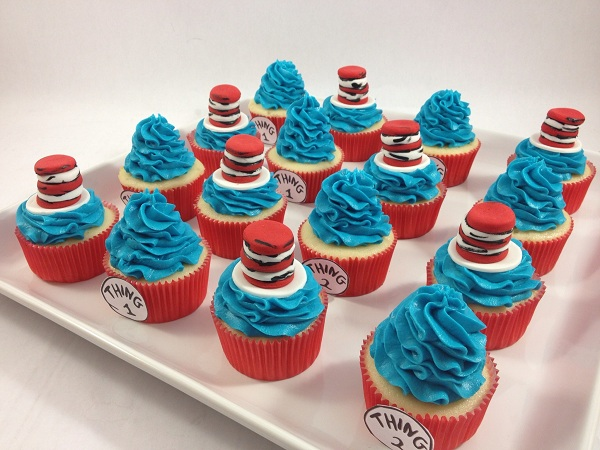 Cat in the Hat Themed Fondant Toppers on Several Cupcakes