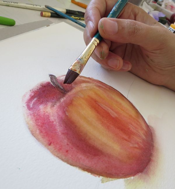 Painting an Apple: Glazing colors over the grisaille