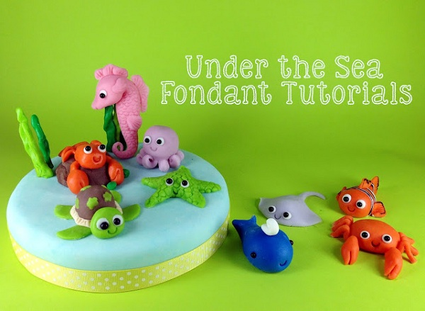 Mini Fondant Sea Creatures Cupcake Toppers