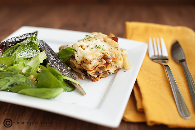 Lasagne and Greens on Plate