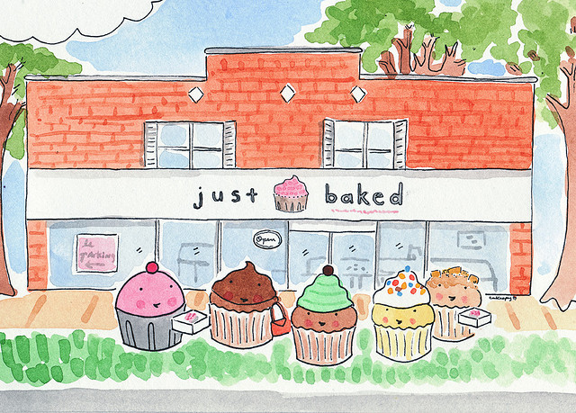 Cartoon of Cupcakes in Front of A Bakery