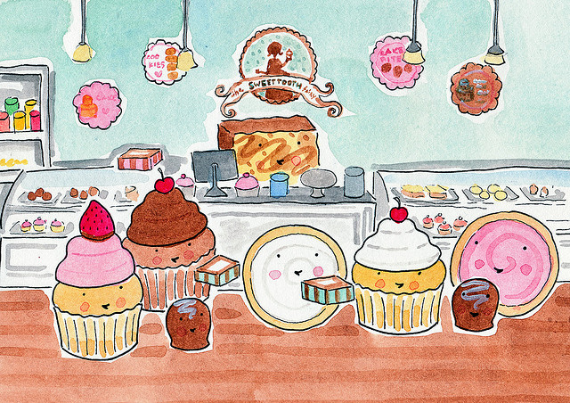 Cartoon of Cupcakes in a Bakery