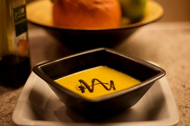 Veloute Sauce in Black Dish