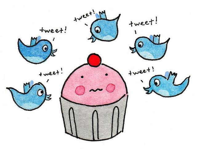 Cartoon of Cupcake and Tweeting Birds