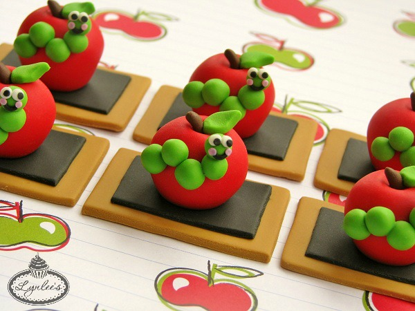 Fondant Apples with Caterpillars
