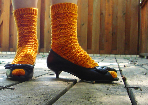 Knitting Orange Marigold Socks