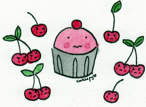 Cartoon of Cupcake and Cherries