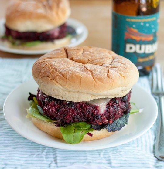 Beet Burger on Bun, Beer in Background