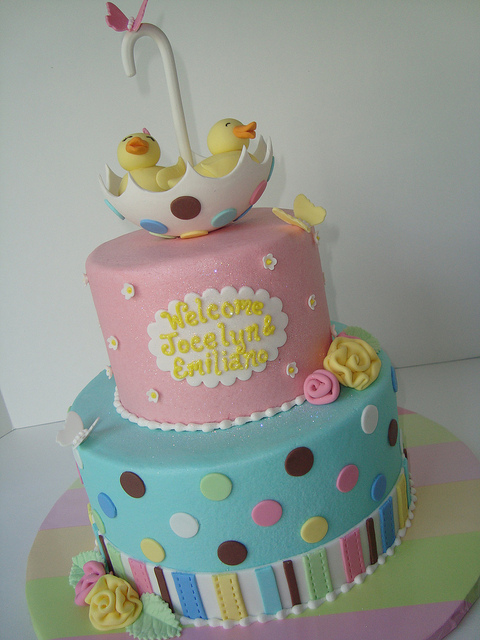 Tiered Twin Cake with Fondant Ducks in Umbrella Topper, on Bluprint