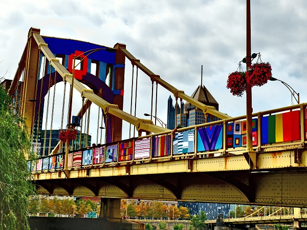 Pittsburgh Bridge Covered in Knit Patterns