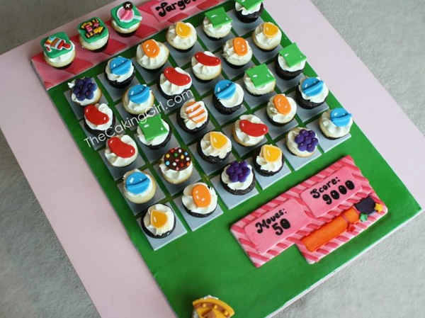 Candy Crush Themed Cupcakes