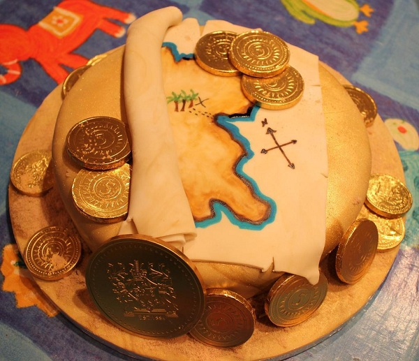 Cake Decorated as Treasure Map and Gold Coins