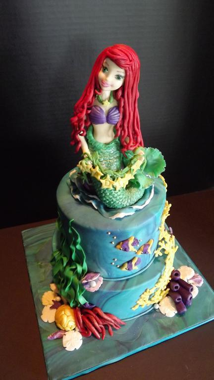 Cake in Shape of Fondant Little Mermaid