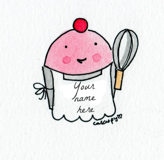 Cartoon of Cupcake Wearing Apron, Holding Whisk