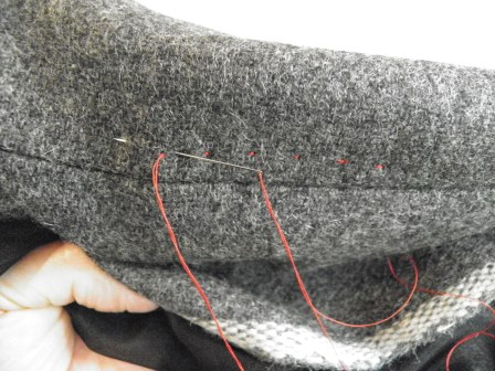 Grey Fabric with Hand Stitches: Back Stitch