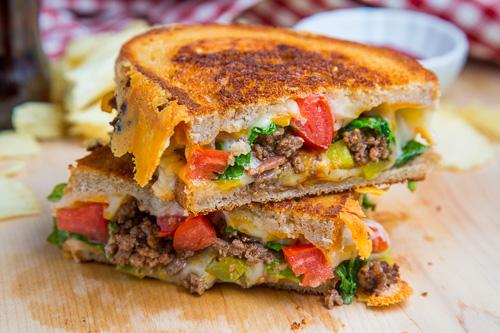 Cheesburger Sandwich Cut in Half