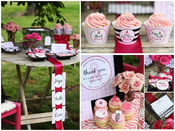 Displays Featuring Various Breast Cancer Awareness Cupcakes