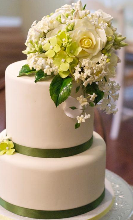 White Tiered Cake with Green Borders and White Roses