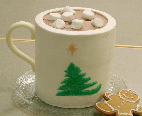Cake Shaped Like Mug of Coco with Marshmallows