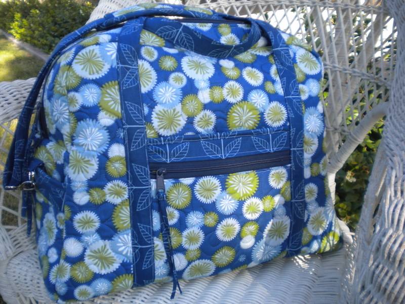 Blue Quilted Sack on Chair