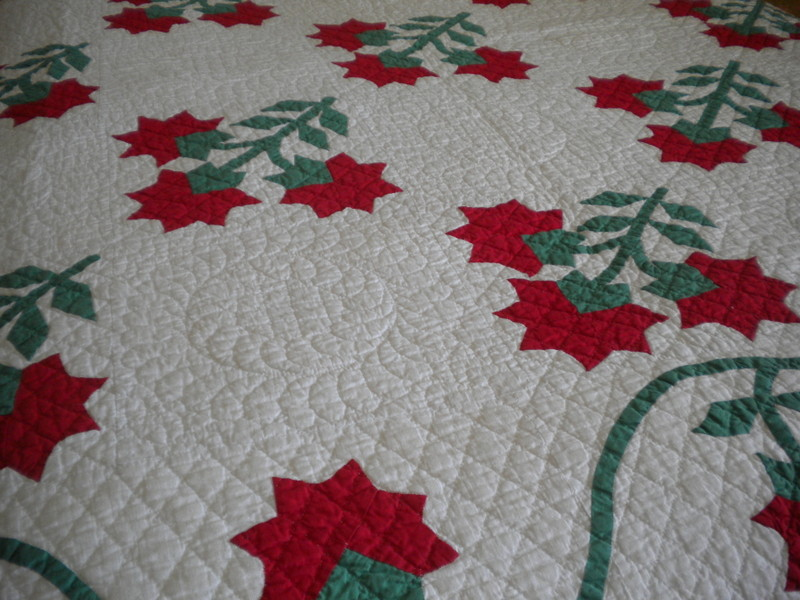 White Quilt with Red Floral Pattern