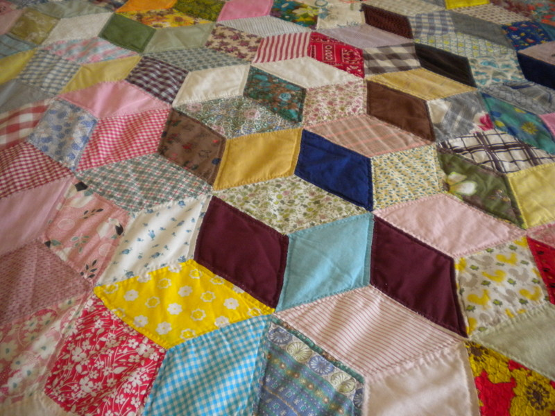 Diamond Pattern, Colorful Quilt