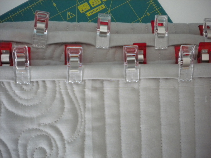 Sewing Clips Attached to Quilt