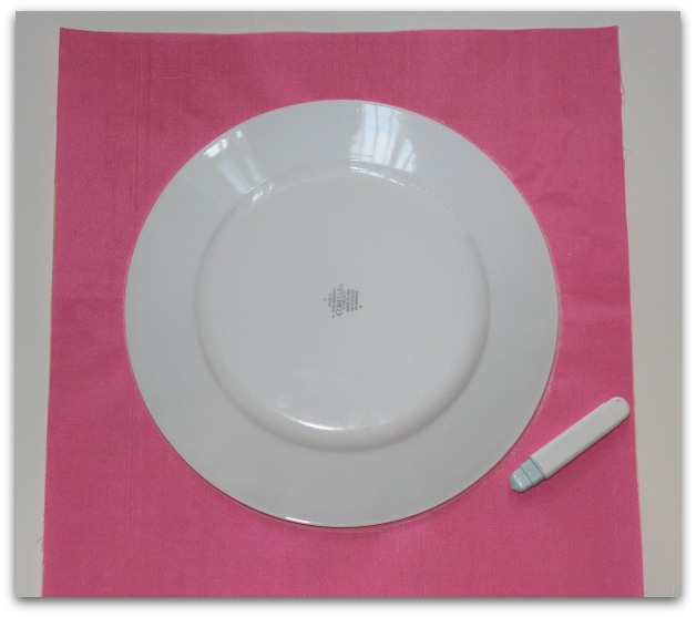 Plate Sitting on Fabric for Measuring