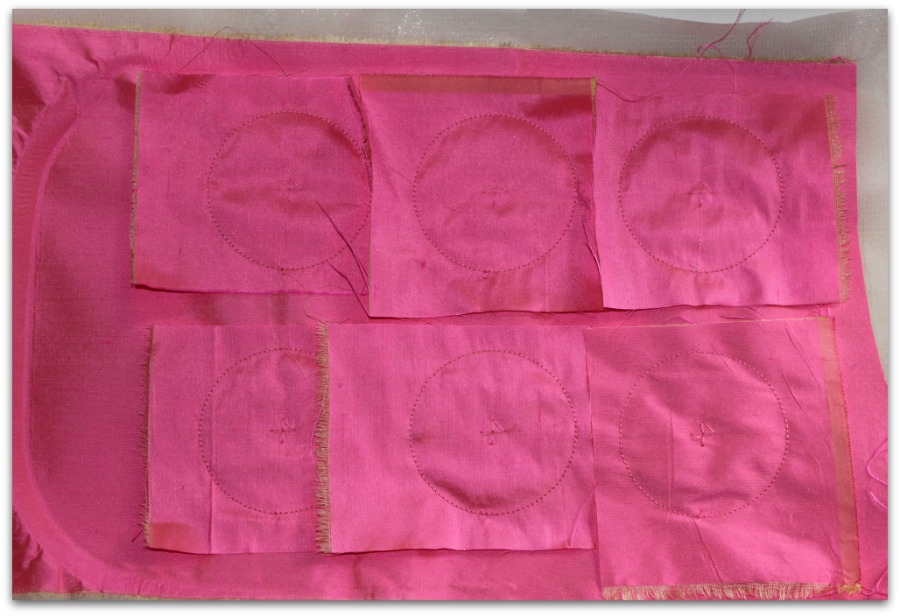 Pink Pieces of Cloth Prepared for Embroidery