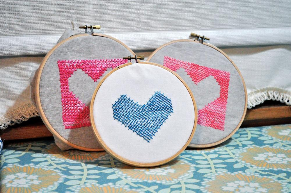 Embroidered Hearts in Hoops
