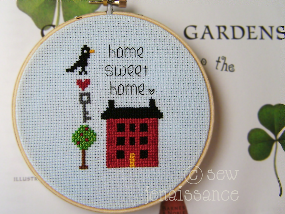 """Embroidery Sampler with House, Tree, and Text Reading """"Home Sweet Home"""""""