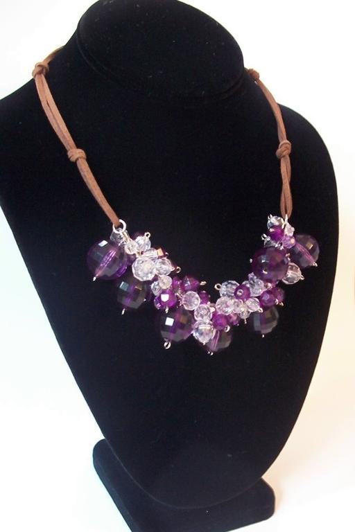 Purple Beaded Necklace on Black Display