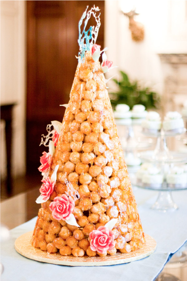 Croquembouche Decorated with Colorful Sugar Art