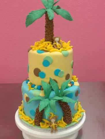 Layered Cake with Monkey and Palm Tree on Top