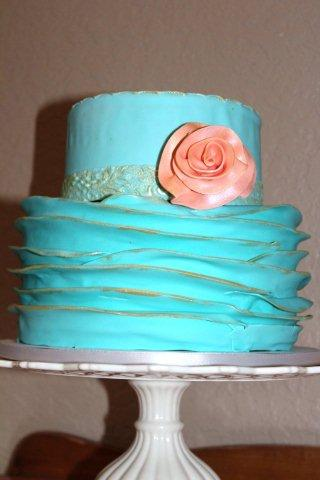 Blue Cake with Frills and Pink Rose