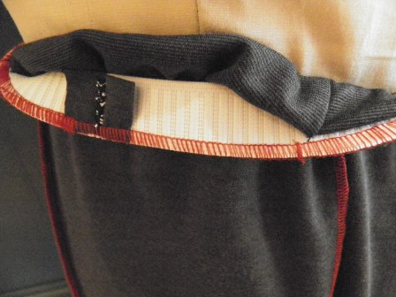 Invisible waistband elastic casing inside view