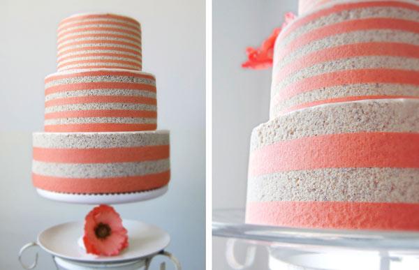 Striped White and Orange Cake on Cake Stand