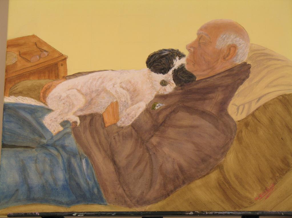 Painting of Older Man Holding Dog
