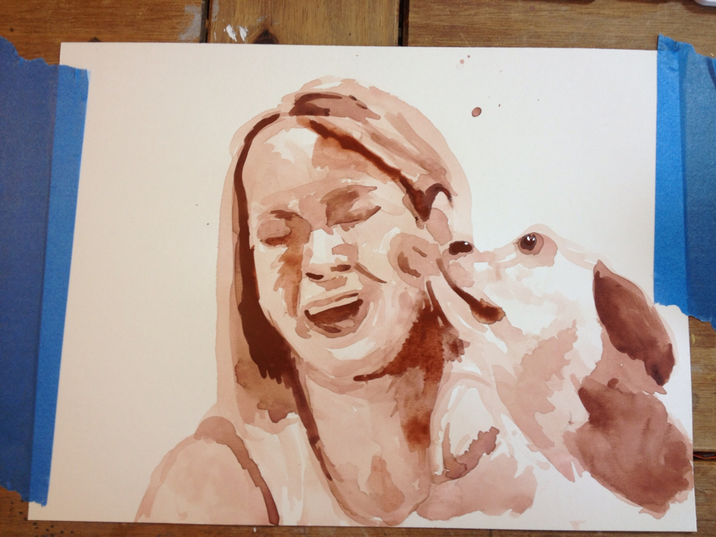 Watercolor Painting of Woman and Dog