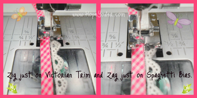 Machine Sewing Trim to Bias