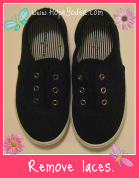 Black Tennis Shoes without Laces